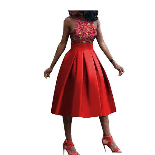 femmes  robe élégante sans manches o-cou genou longueur casuel