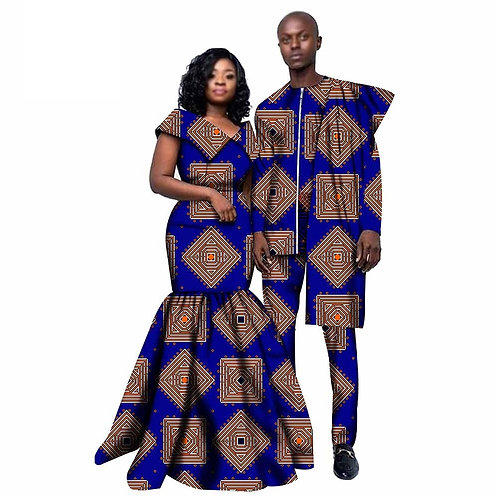 Couple africain vêtements hommes Dashiki 2 pièces et femmes imprimer robe Max