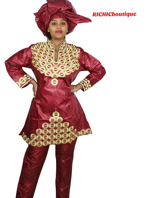 Femme africain bazin rich broderie conception  robe avec écharpe