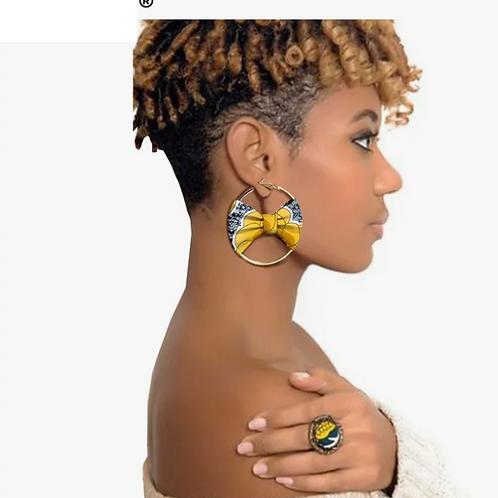 Boucle d'oreille de style africain pour femmes à la main ankara
