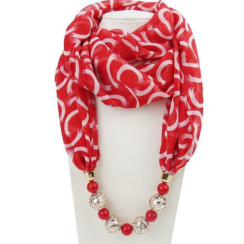 femme  Soie écharpe collier fleur perles ref 001