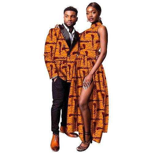 Couple vêtements femmes robe Midi hommes coupe cintrée veste Outwear fête formel