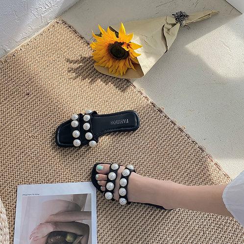Été perle femmes diapositives plat pantoufles décontractées bout ouvert