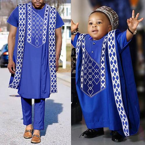 hommes africain Agbada 3 pièces ensemble enfant garçons  chemise  brodé