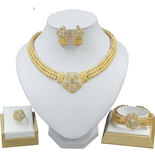 bijoux mariage collier boucles d'oreilles bracelet couleur or diamant  ensembles