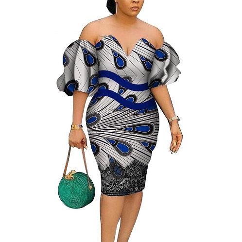 Femme Sexy Slash cou robe africaine Bazin  imprimer