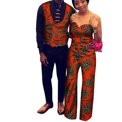 Couple vêtements pour fête mariage hommes gilet et femmes sans bretelle Jumsuit