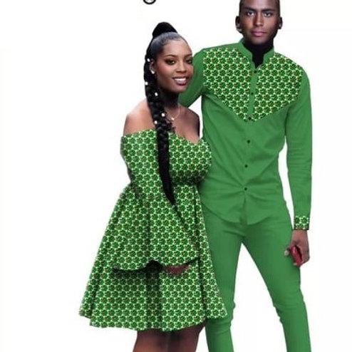 Couple africain vêtements femmes été Mini robe hommes traditionnel ensemble MG1
