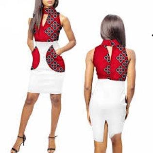 Femmes robe Ankara Col Roulé Patchwork Poches
