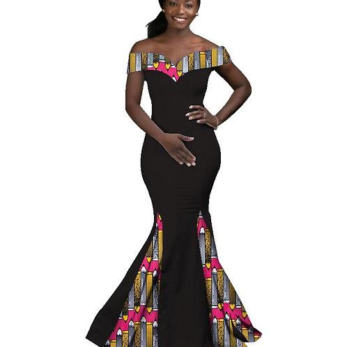 Femmes Africaines Dashiki Batik Cire  Sexy soirée Slash Cou ref02
