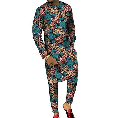 Dashiki homme imprimer longues chemises avec  pantalon sur mesure Richic