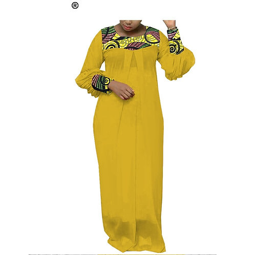 femmes africaines robe tissu voilé  sur mesure à manches longues imprimé