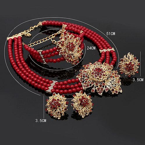 ensemble bijoux Dubai cristal rouge