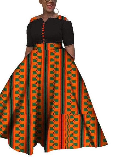 fricaine Dashiki Robes Pour Femmes Coloré  Cheville ref01