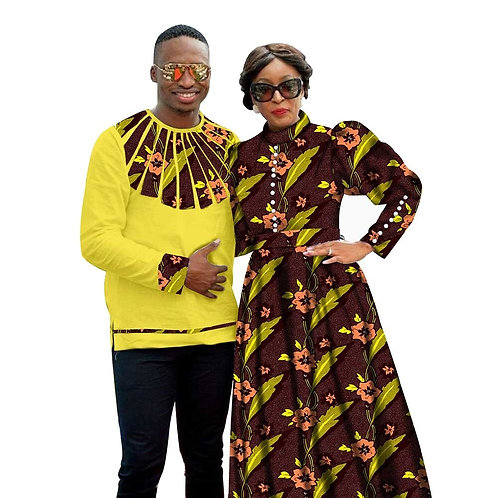 Couple Dashiki chemises pour hommes Maxi robes pour femmes fête