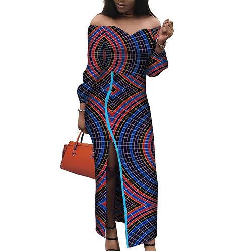 femme Riche Split Ankara Imprimer Robes Longues ref02
