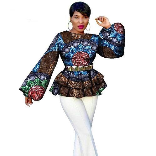 Femmes Traditionnelles Imprimé Africain À Manches Long ref01