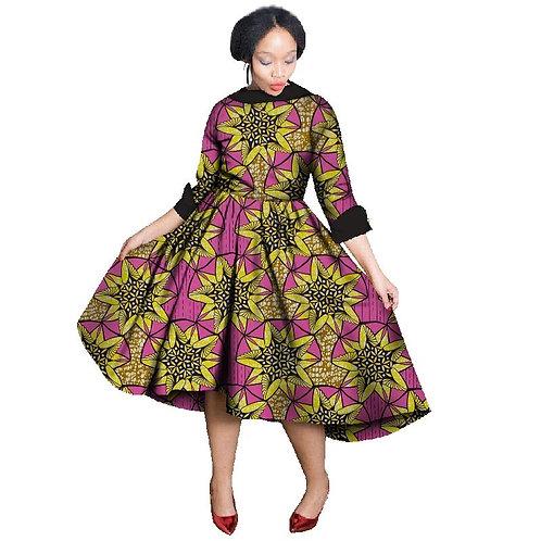 femmes imprimer robes été trois Quater manches Vintage