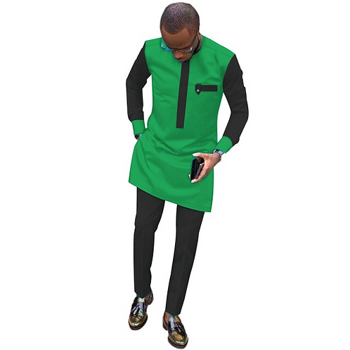 homme Dashiki vêtements  chemise + pantalon  poches 2 pièces ensemble coton