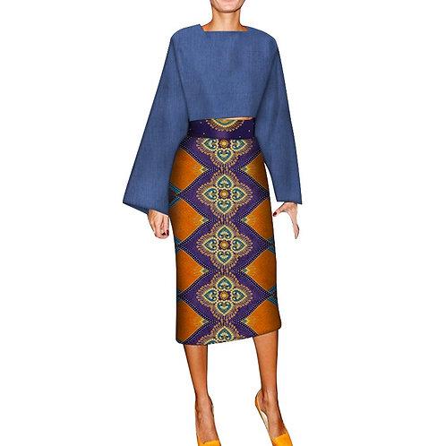 2 pièces ensemble femmes vêtements  africaine culture hauts et jupe wax