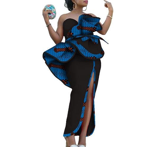 femme élégant robes africain soirée impression coton Slash cou grande fleur