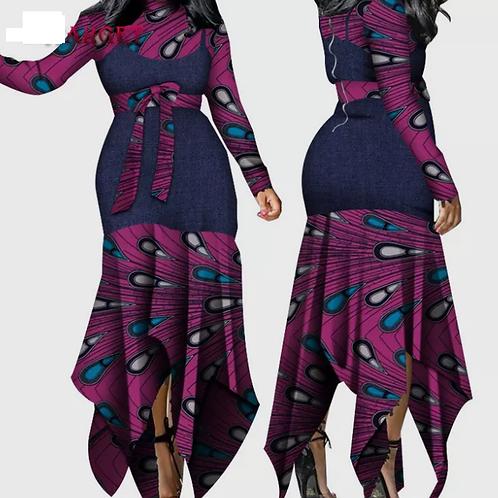 femmes robe à manches longues africaines Ankara élégante sexy