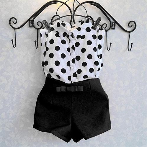 ensemble fille Polka Dot T-shirt Tops + Short Arc Pantalon