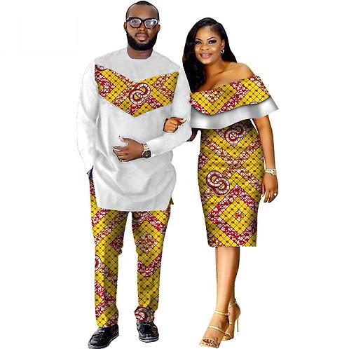 Ensemble 3pièces africain Dashiki imprimer Couple vêtements pour amoureux REF0K2