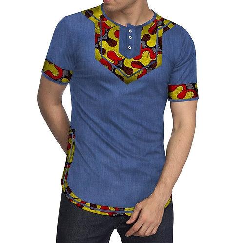 Hommes Patchwork à manches courtes top t-shirts vêtements africains Bazin