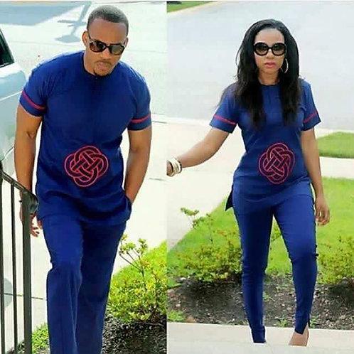 ensenble couple homme et femme chemise + pantalon bleu brodée
