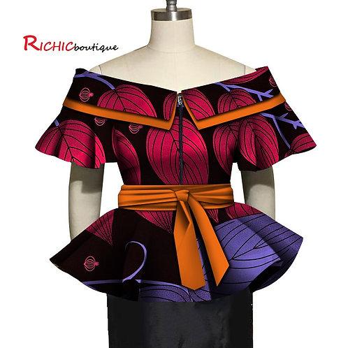 Hauts femme africains élégant plissée manches Slash cou avec fermeture gliciere