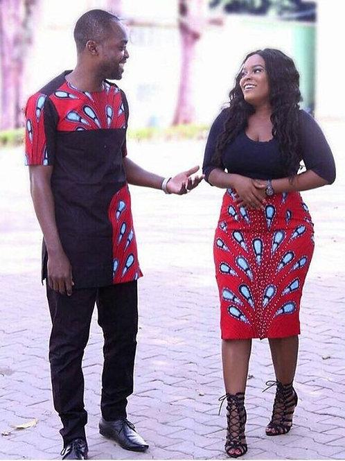 ensemble couple 2 pieces  WAX jupe dame +chemise homme