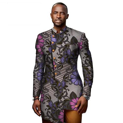 Dashiki imprimé africain Patchwork col montant Blazer Style africain