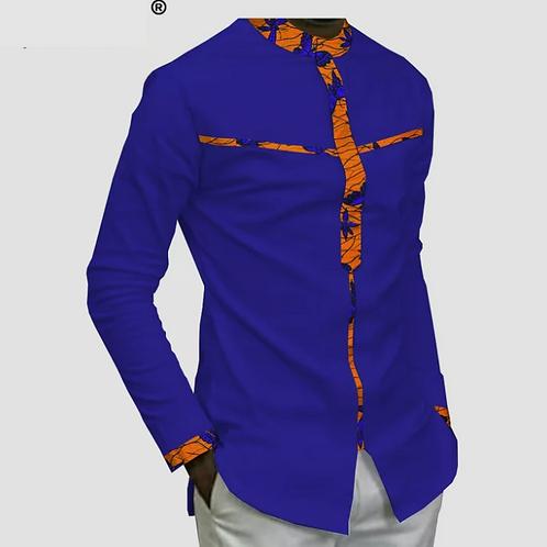 dashiki homme manches complètes simple boutonnage chemise en coton A181
