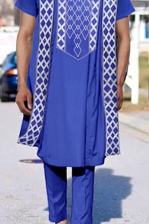 homme 3 pieces agbada bleu brodé royal afro