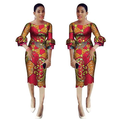 femme robe dashiki ankara style manche doublé
