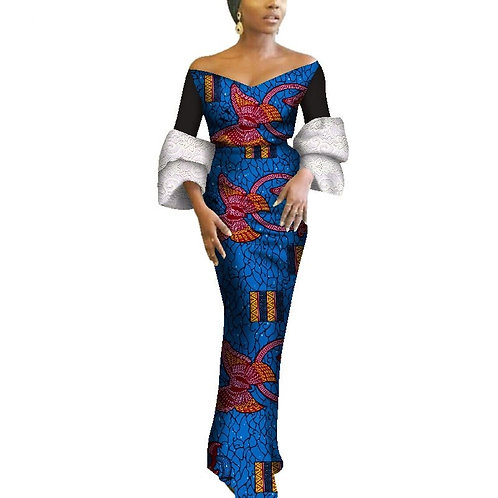 robes africaines Sexy Slash cou dentelle manches bouffantes