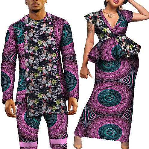 vêtements africains pour Couple Dashiki imprimer tenues diner et soirée