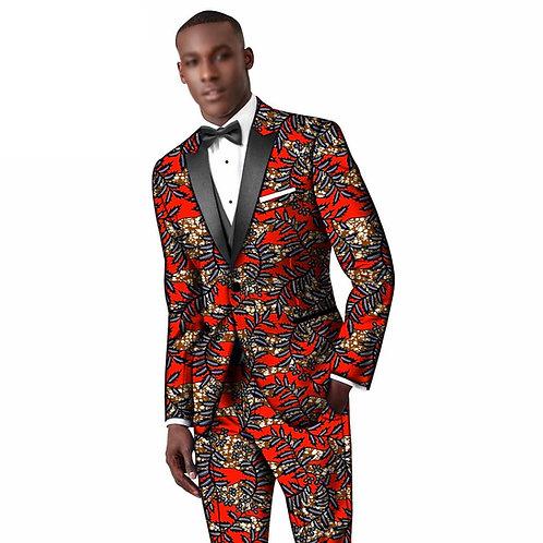 costume homme 2 pièces coupe classique imprimé  plissé