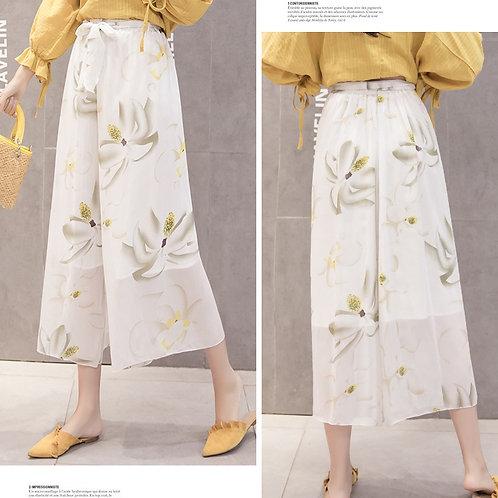 femme Pantalon de Mousseline de Soie Imprimé floral Boho