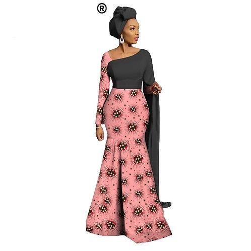 robe Maxi pour femmes sur mesure trompette foulard