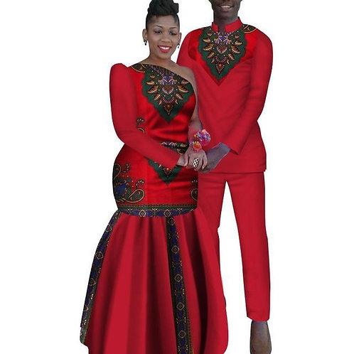 3pièces ensemble africain Dashiki imprimer Couple vêtements pour amoureux