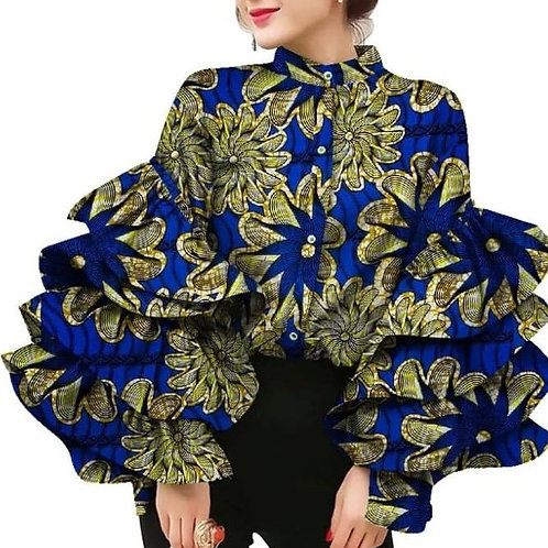 chemise femme col montant  Flare manches stylé cire imprimer