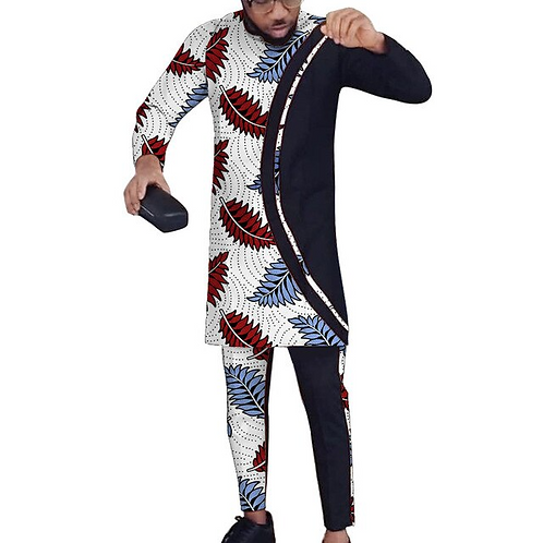 hommes ensembles Patchwork hauts + pantalon personnalisé mode africaine