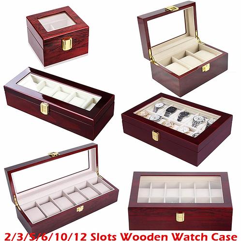 boite  marque de luxe en bois et verre rangement montres 2 3 5 12 grille