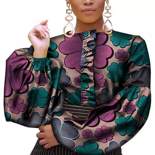 Haut ankara imprimer femmes batik coton manteau S182