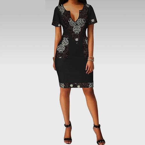 robe femmes à manches courtes col en v profond mini droite pour dame Coton ER78