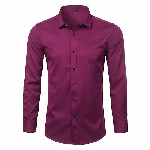 Marque  bambou Fiber hommes chemises coupe mince à manches longue