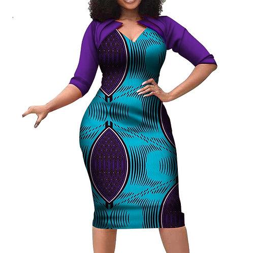 femmes africaines vêtements Patchwork cole stylé manches moyennes wo09
