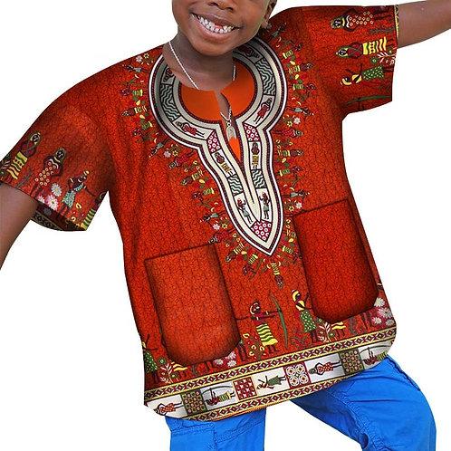 africain vêtements cire imprimé Dashiki T-shirt pour garçons